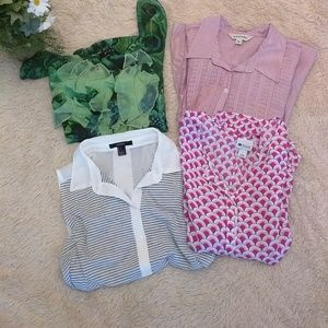 Tops - Bundle lot of 4 size L spring summer tops blouses